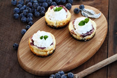 Mini Cheesecakes and Fresh Blueberries Stock Image