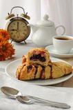 Mini cherry strudel with a cup of coffee Stock Photos
