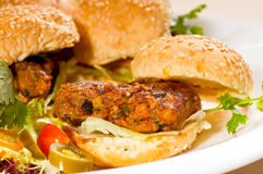 Mini chicken burgers Stock Photography