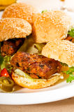 Mini chicken burgers Stock Photos