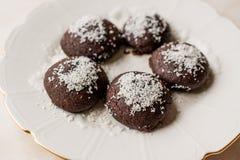 Mini Chocolate Brownie Wet Cookies with Coconut Powder / Turkish Islak Kurabiye. Stock Photo