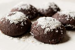 Mini Chocolate Brownie Wet Cookies with Coconut Powder / Turkish Islak Kurabiye. Stock Photos