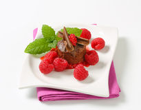 Mini chocolate cake with fresh raspberries. Mini chocolate cake served with fresh raspberries Stock Photography
