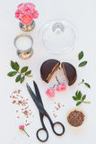 Mini Chocolate Cake with Milk and Roses Stock Image