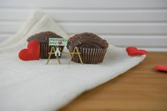 Mini chocolate cakes for mothers day with love heart shapes Royalty Free Stock Photography