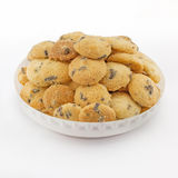 Mini chocolate chip cookies isolated on white background Stock Photo