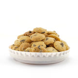Mini chocolate chip cookies isolated on white background Stock Images
