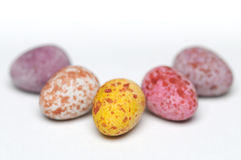Mini Chocolate easter eggs. A shot of a five mini chocolate easter eggs on a plain white background Stock Photo