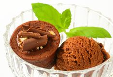 Mini chocolate hazelnut cake with ice cream Royalty Free Stock Photography