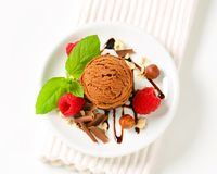 Mini chocolate hazelnut cake with ice cream Stock Photos