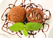 Mini chocolate hazelnut cake with ice cream Royalty Free Stock Image