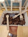 Mini chocolate overloaded pancakes stock photo