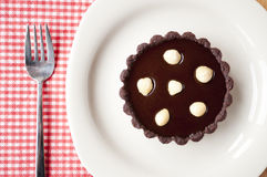 Mini chocolate tart with nut Stock Photo