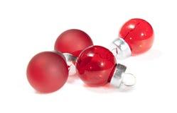 Mini Christmas red balls isolated on white Stock Photos