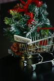 Christmas tree, coins in mini trolley isolated in dark black background. Mini Christmas tree decoration and coins in mini trolley in dark black background Royalty Free Stock Photos