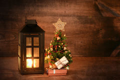 Mini christmas tree with lantern Royalty Free Stock Photo