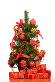 Mini Christmas Tree On Office Desk Royalty Free Stock Image