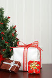 Mini christmas tree with presents Royalty Free Stock Images