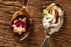 Mini churros salados y cerdo caramelizado acompañados por el arroz del jazmín y el curry rojo en una cuchara Fotos de archivo libres de regalías