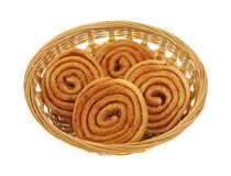 Mini Cinnamon Pecan Sweet Rolls Basket Stock Photo