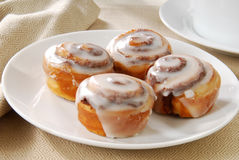 Mini cinnamon rolls. A close up photo of a plate of cinnamon rolls Royalty Free Stock Photography
