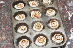 Mini cinnamon rolls ready to be baked Stock Image