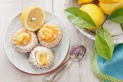 Mini- citronbundtkakor royaltyfri fotografi