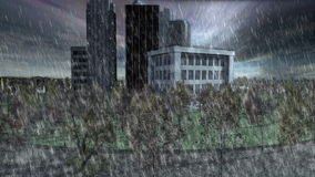 Mini city at cloudy day with heavy rain and tornado. Mini city surrounding by trees and the sea at cloudy day with heavy rain and tornado stock footage