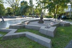 Mini City en Alexander Park La fortaleza de Peter y de Paul en St Petersburg Rusia Imagenes de archivo