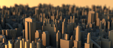 Mini city scape on sunset air shot Royalty Free Stock Photography