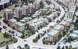 Mini ciudad - modelos miniatura de nuevos edificios Foto de archivo