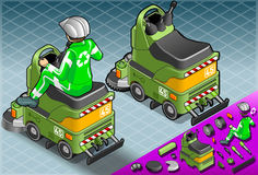Mini Cleaner Machine isométrico com o homem no trabalho ilustração stock