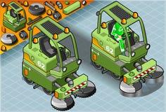 Mini Cleaner Machine isométrico con el hombre en el trabajo en Front View stock de ilustración