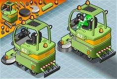 Mini Cleaner Machine isometrico con l'uomo sul lavoro nella retrovisione Immagini Stock Libere da Diritti