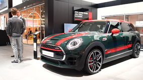 MINI Clubman John Cooper Works crossover station wagon. Front view on display during the 2017 European Motor Show Brussels stock footage