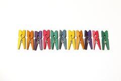 Mini Colourful Clothes Pegs Royaltyfri Fotografi