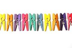 Mini Colourful Clothes Pegs Stockbild