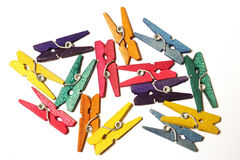 Mini Colourful Clothes Pegs Royalty Free Stock Photos
