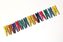 Mini Colourful Clothes Pegs Stock Photos