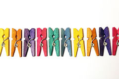 Mini Colourful Clothes Pegs Royalty Free Stock Images