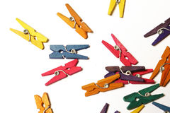 Mini Colourful Clothes Pegs Royalty Free Stock Photo