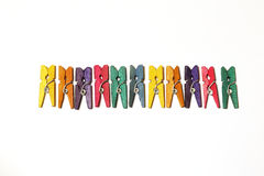 Mini Colourful Clothes Pegs Royalty Free Stock Photography