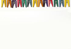 Mini Colourful Clothes Pegs Stock Photography
