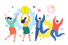 Mini conceito do negócio dos povos A mulher de negócio bem sucedida comemora o sucesso com colegas Conceito do negócio do sucesso ilustração royalty free