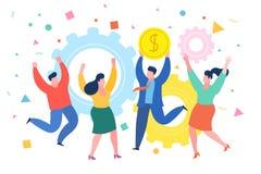 Mini conceito do negócio dos povos O homem de negócios bem sucedido comemora o sucesso com colegas Conceito do negócio do sucesso ilustração do vetor