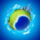 Mini concetto del pianeta. Commercio e corsa. Immagine Stock