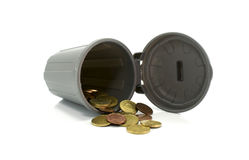 Mini container with euro coins Royalty Free Stock Images