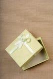 Mini contenitore di regalo verde con il nastro Fotografia Stock Libera da Diritti