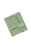 Mini contenitore di regalo verde con il nastro Immagini Stock Libere da Diritti