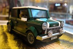 Mini Cooper car made from Lego. Iconic green mini car made from lego blocks stock photography